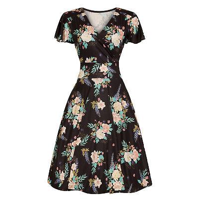 Analytisch Hell Bunny Flora Black Blue Exotic Floral 1940s Retro Vintage Flared Wrap Dress üBereinstimmung In Farbe