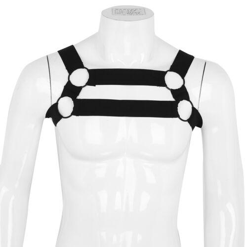 Homme Nylon Élastique poitrine Harnais Sangle de Corps Épaule Ceinture Clubwear Punk Costume