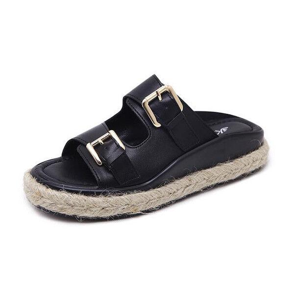 Sandali eleganti bassi  nero ciabatte colorati nero  corda comodi simil pelle 1085 70dd04