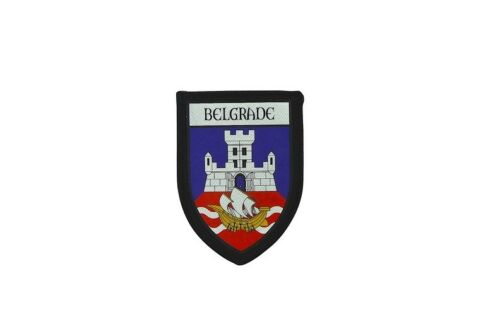 Patch printed embroidery travel souvenir shield city flag belgrade serbia