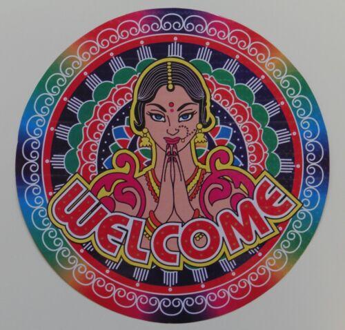 Holographic Rangoli Round Indian Mandala Welcome Sticker 22.5cm Bubbled Surface