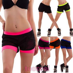 Pantalones-cortos-red-mujer-vestido-playero-shorts-moda-de-bano-neon-fitness