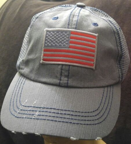 USA Flag Trucker Hat Low Profile Cotton Light Gray Cap Red /& Gray US Flag