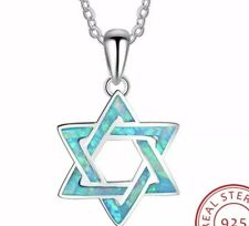 26mm Created Blue Opal 925 Sterling Silver Heart Pendant with Hebrew Chai Life