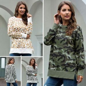 YYear Women Long Sleeve Leopard Print Stylish Loose Fit Pullover Sweatshirt