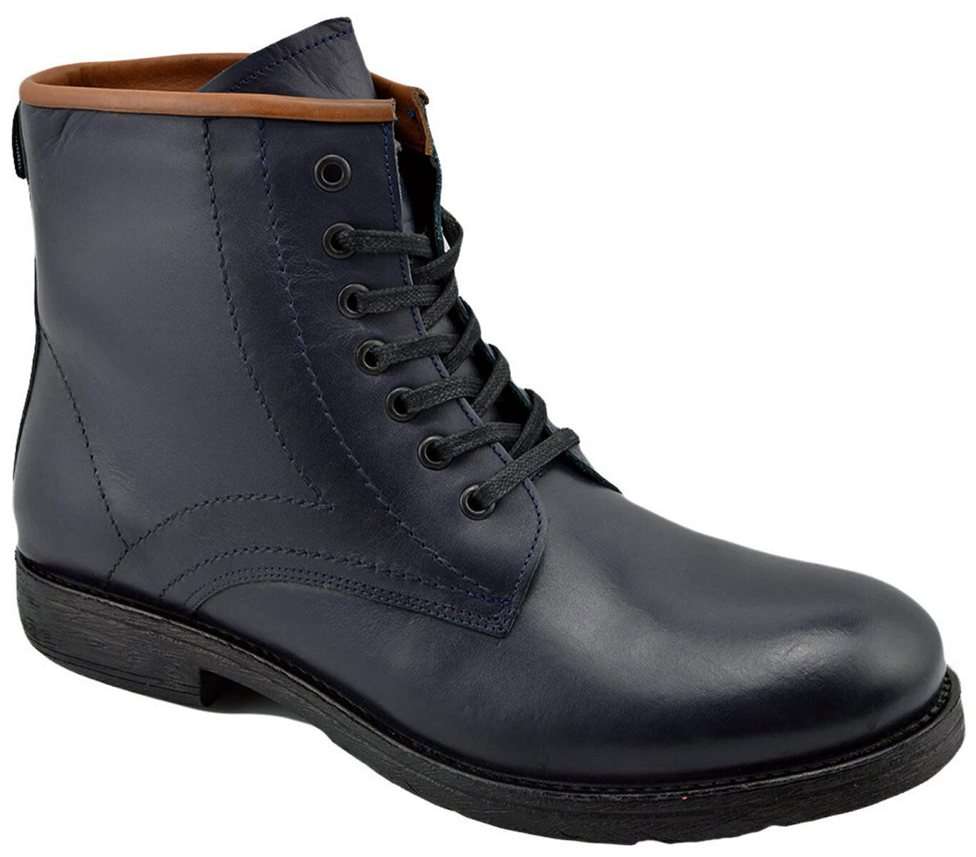 230 OVATTO bluee Calf Leather Ankle Boots Men shoes NEW COLLECTION