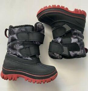 Jack Baby boys Black snow boots size