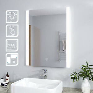 LED Illuminated Bathroom Mirror with Touch Sensor Modern Wall Mounted 600x800mm