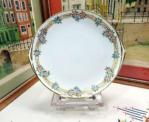 ANTIQUE-NIPPON-HAND-PAINTED-RED-amp-BLUE-FLORAL-11-034-HANDLED-CAKE-PLATE-1911