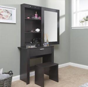 Image Is Loading Large Dressing Table Storage Mirror Set Black Bedroom