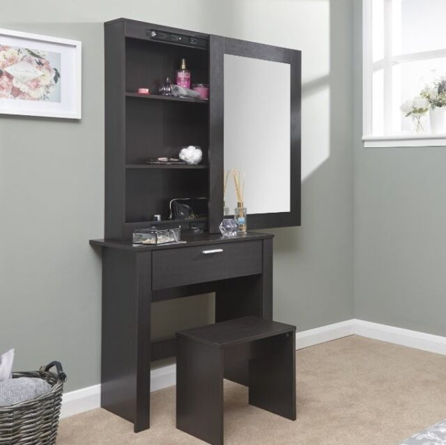Large Dressing Table Storage Mirror Set Black Bedroom