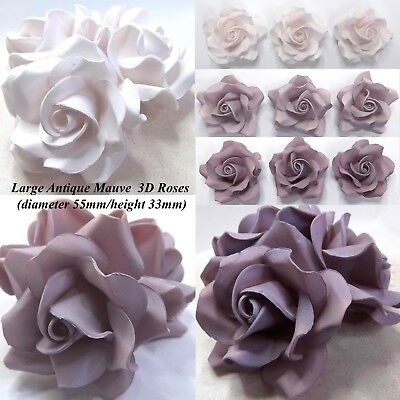 Lilac Roses Pale Purple Mix 3D sugar flowers wedding cake decoration 55mmNOWIRED