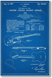 Fender-Guitar-Patent-NEW-Vintage-Invention-Patent-Poster