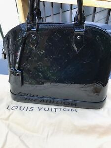 9a2093a7f80f Image is loading Louis-Vuitton-Alma-Pm-Vernis-Leather-Black-Patent-