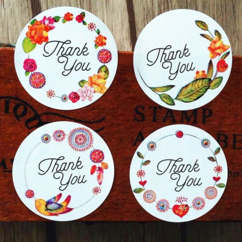 60//120Pcs Round Thank You Label Flower Seal Stickers Self-adhesive Scrapbooking