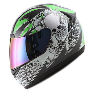 NEW-1STORM-DOT-MOTORCYCLE-STREET-BIKE-FULL-FACE-HELMET-BOOSTER-SKULL-GREEN-HG335