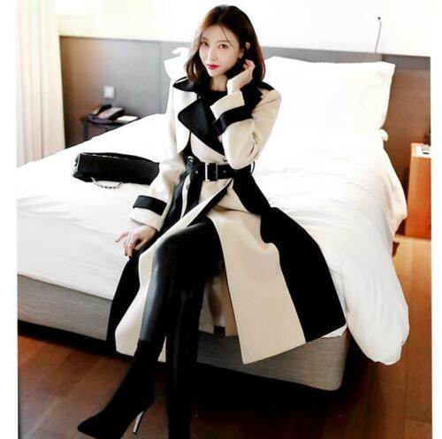Women British Wool Blend Double-breasted Military Belted Long Jacket Coat Trench