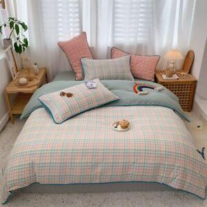 Washed Cotton Duvet Cover Set Gingham Plaid Geometric Bedding Set Bed Sheet 4Pcs
