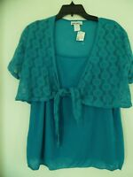 Freelance Teal Green Pull Over Short Sleeve Top Junior Size 2x