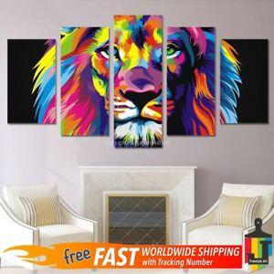 2d933acc8ba 5pcs Large Animal Lion King Canvas Oil Print Painting Wall Art Home ...