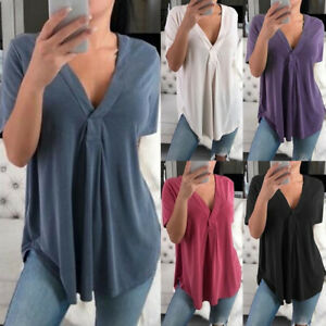 Women-039-s-V-Neck-Loose-Short-Sleeve-Blouse-Light-weight-Tunic-Casual-Top-T-Shirt