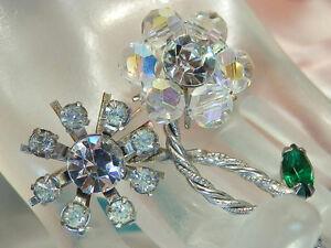 Sparkly-amp-Pretty-Vintage-1950-039-s-Rhinestone-Crystal-Navette-Flower-Brooch-1736je