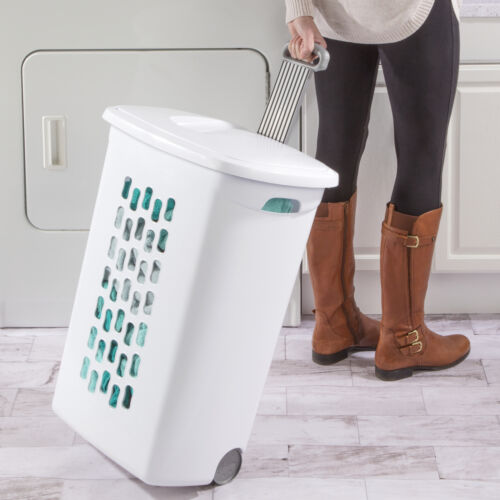 Wheeled Plastic Laundry Hamper Set of 3 Rolling Basket Clothes Storage Lid White
