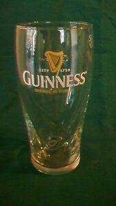 Pair of Guinness Est. 1759 Pint Beer Glasses Swirled with Embossed Harp