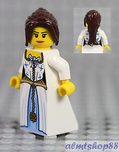 Female Minifigure Red//Gold//White Dress /& Dark Brown Hair Princess Castle LEGO