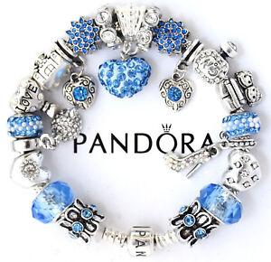 2c22722f6 Image is loading Authentic-Pandora-Bracelet-Silver-Mom-Wife-Blue-European-