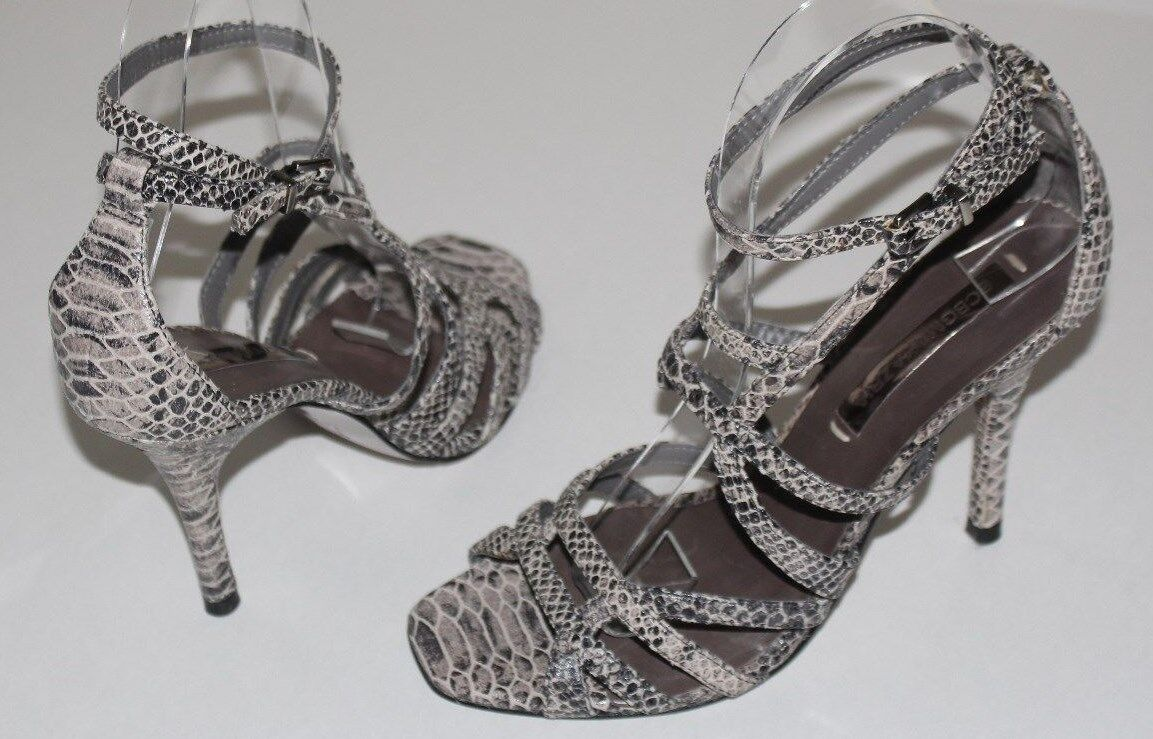 "BCBG MAX AZRIA 6.5 B Gray Python Ankle Strap Sandals 4"" Heels Leather Soles"
