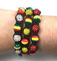 Bracelets Rasta Shamballa Adjustable Rhinestones Jewelry Green Yellow Red Usa