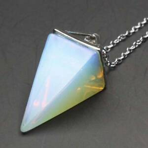 Piedras-Preciosas-Naturales-Cristal-Cuarzo-Curacion-Reiki-Pendulo-Colgante-Collar-E