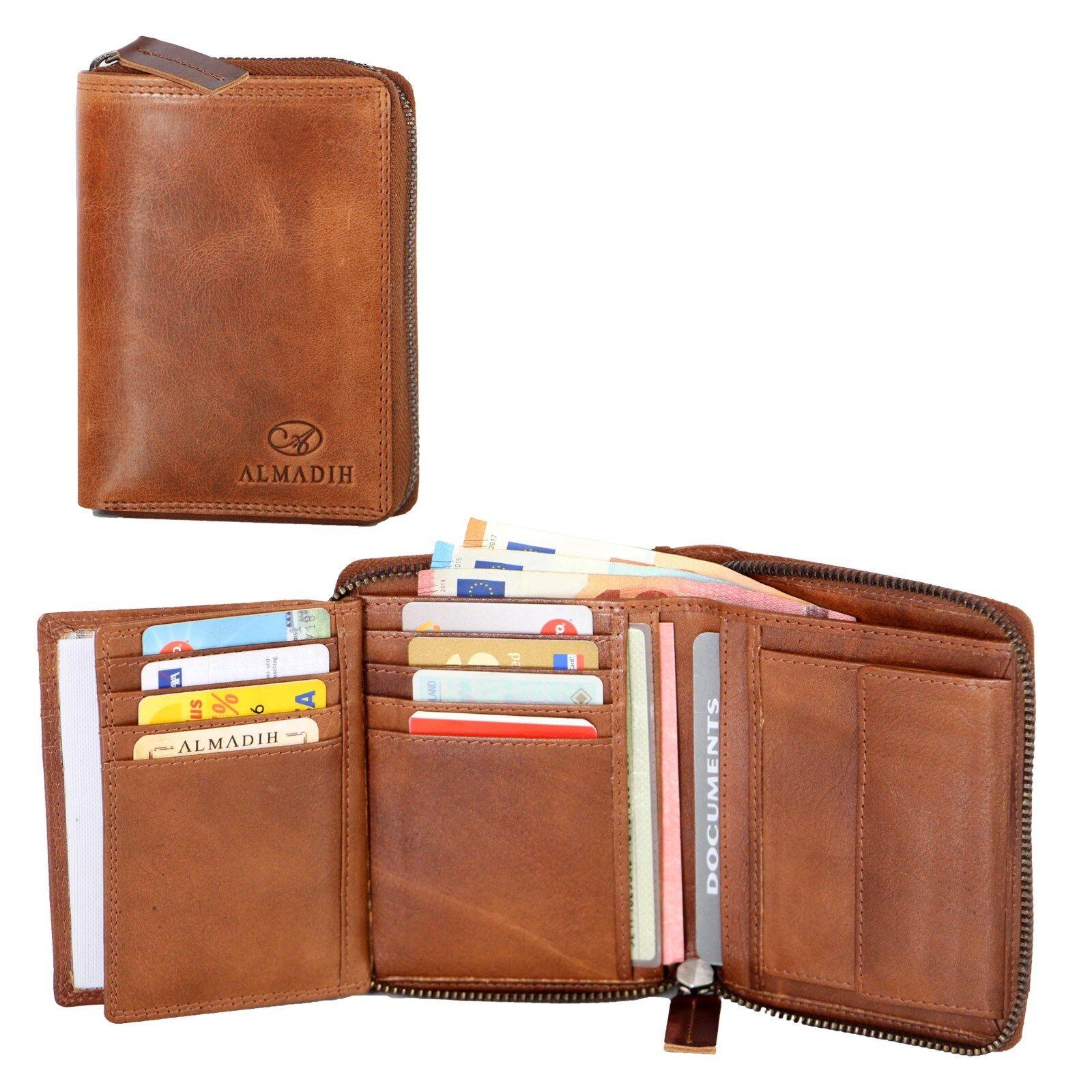 ALMADIH Leder Leder Leder Portemonnaie 17 Karten Geldbörse Herren Damen Brieftasche P2H-RV | Hervorragende Eigenschaften  0db553