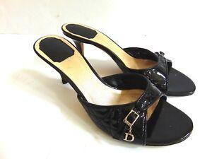 Christian-Dior-Black-Cannage-Patent-Leather-Slide-Sandals-Heels-Size-38-1-2-US-8