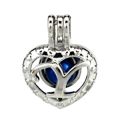 5pcs//lot Silver Alloy Y Letter Heart Alphabet Locket Pendant Beads Cage K876