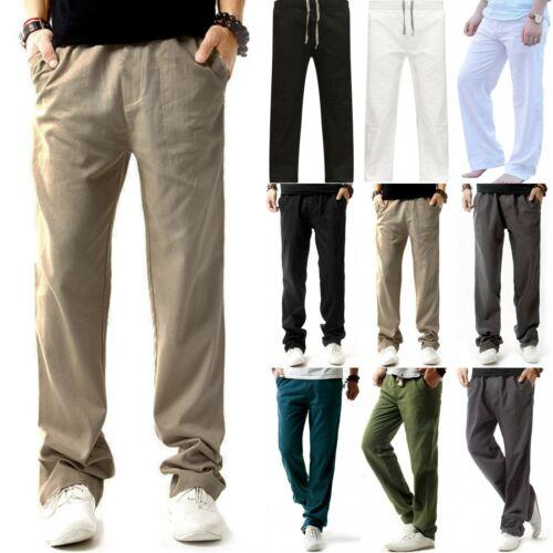 Mens Cotton Loose Pants Beach Drawstring Yoga Elasticated Linen Style Trousers