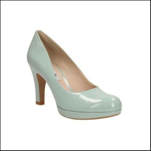CLARKS **Crisp Kendra Aqua Patent** heels Smart Court Shoes UK 5.5 6.5  RRP £65