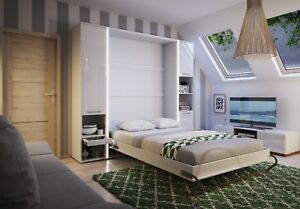 wholesale dealer 98756 1b8ab Details about Modern Vertical Wall Hidden Pull Out Small Double Bed 120cm  White Matt & LED