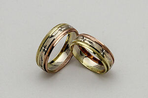 10K-SOLID-TRICOLOR-GOLD-HIS-AND-HER-WEDDING-BAND-RING-SET-SZ-4-15-FREE-ENGRAVING