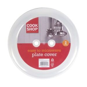 Pack of 2 Plastic Ventilated Microwave Plate Covers Food Plate Dish Cover