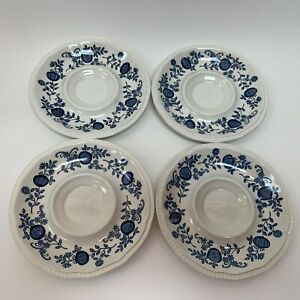 Staffordshire-Kensington-Ironstone-England-Saucers-White-Blue-Onion-Lot-of-4