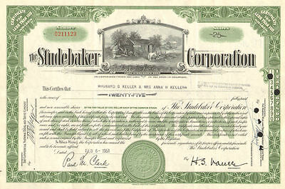The Studebaker Corporation 1940s 1950s vintage auto car stock certificate share