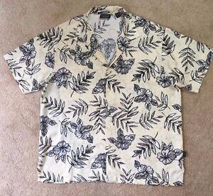 1baeeb853 Men's Hawaiian Shirt Beach Linen Blend Button Up Size XL Greg Norman ...