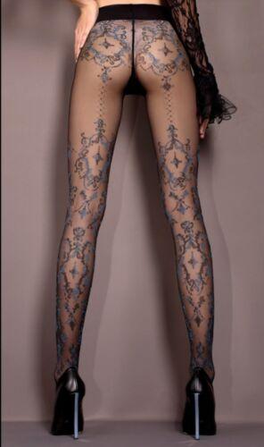 Vintage Black /& Blue Patterned Pantyhose Studio Collants Hosiery 412