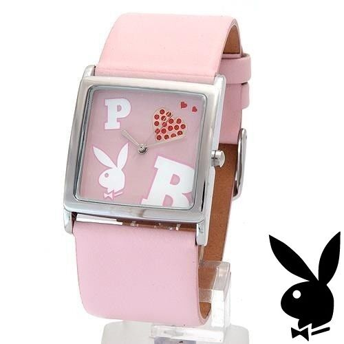 NEW RARE Playboy Watch S Pink Leather Ladies Stainless Steel Quartz Women Silver