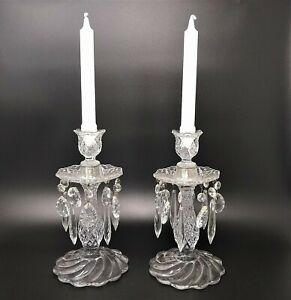 Vintage-Pair-of-Crystal-Cut-Glass-Candlesticks-Candle-Holders-Prism-Crystals