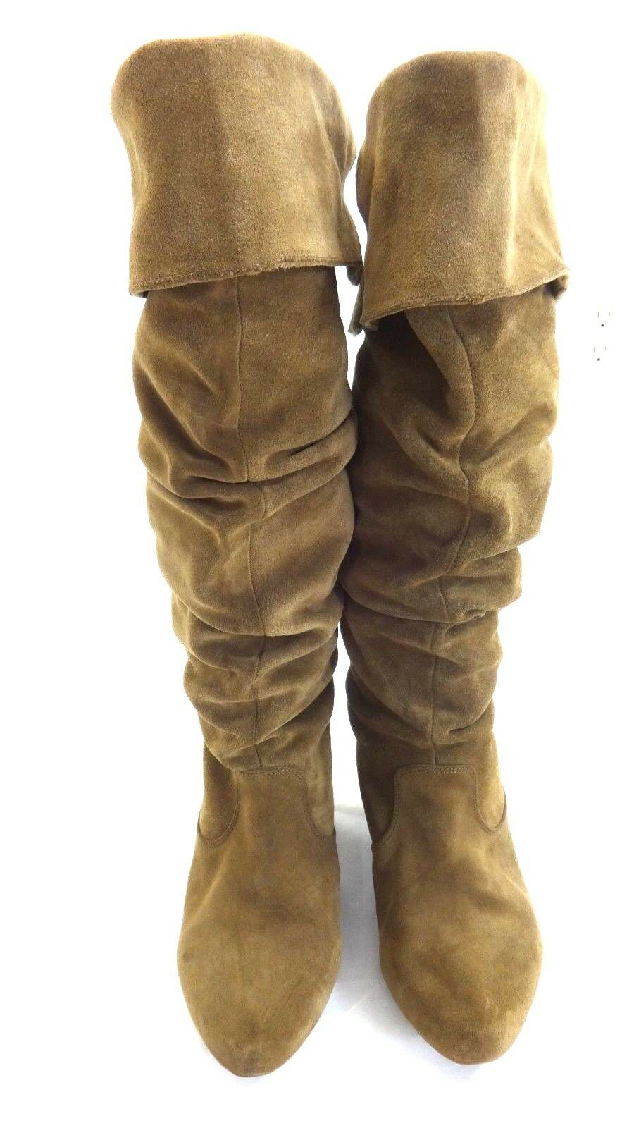 JESSICA SIMPSON WOMEN'S BROWN SUEDE LEATHER PULL ON BOOTS SIZE 5M