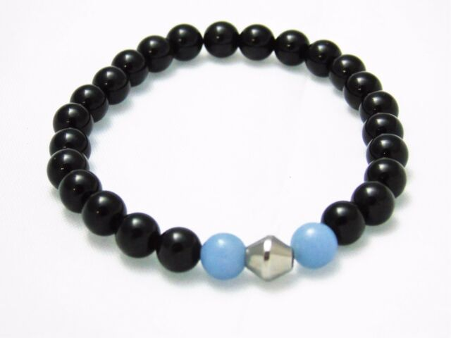 Bracelet Black Obsidian Blue Angelite Natural Stone Bead Crystal Chakra Healing