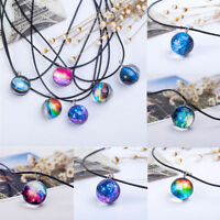 Stars Short Glass Galaxy Pattern Necklaces Glass Pendant Necklace